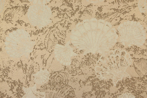 1960s Vintage Wallpaper Sea Shells on Gold