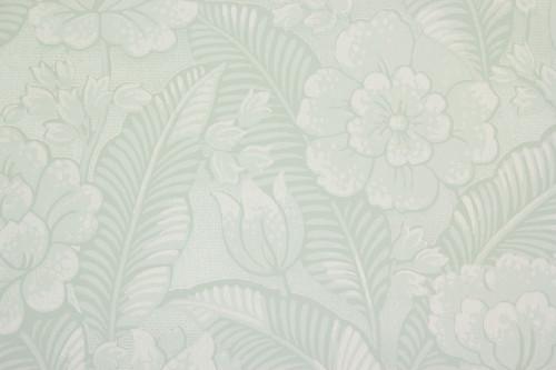 1960s Vintage Wallpaper Large White Flowers on Light Green