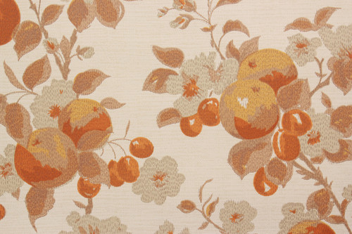1970s Vintage Wallpaper Fruit Flowers Orange