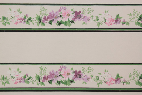 1940s Vintage Wallpaper Border Purple Flowers