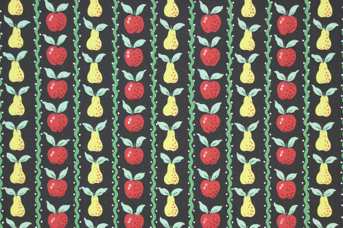 1950s Vintage Wallpaper Apples and Pears on Black