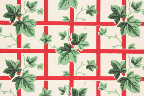 1940s Vintage Wallpaper Ivy on Red Lattice