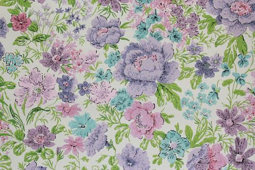 1970s Vintage Wallpaper Purple and Aqua Flowers