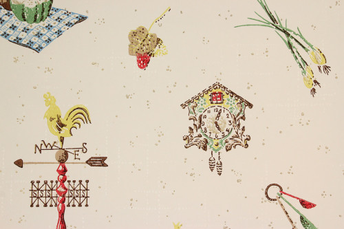 1950s Vintage Wallpaper Red and Yellow Kitchen