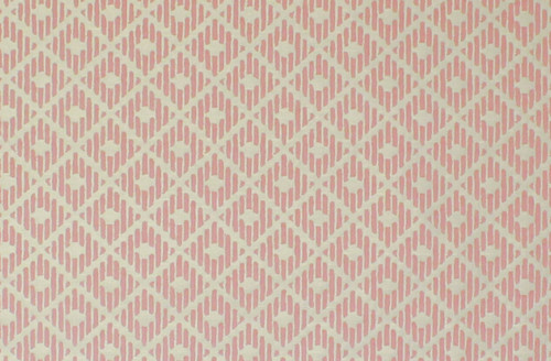 1970s Vintage Wallpaper Pink Diamond Flocked on White