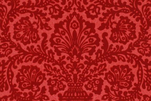 1970s Vintage Wallpaper Red Flocked Damask
