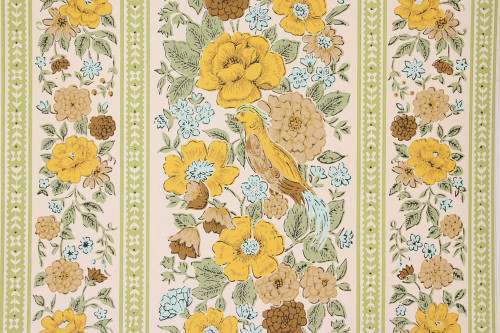 1970s Vintage Wallpaper Birds and Flowers