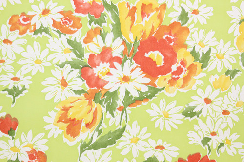 1970s Retro Vintage Wallpaper Red Flowers Daisies on Bright Green Vinyl
