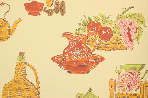 1970s Retro Vintage Wallpaper Red Orange Kitchen