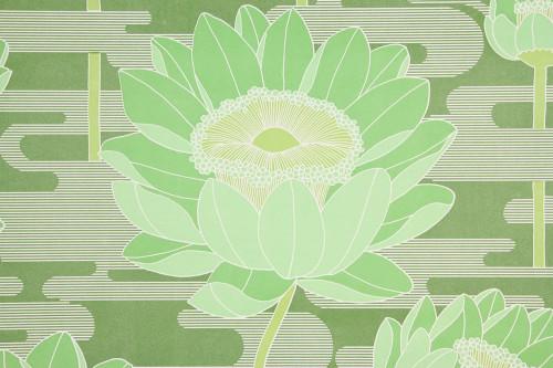 1970s Retro Vintage Wallpaper Large Flowers on Green