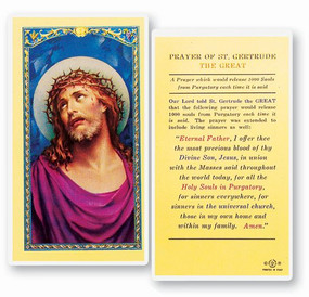 St. Gertrude the Great Prayer Laminated Holy Card