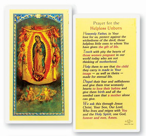 Our Lady of Guadalupe - Prayer for the Helpless Unborn - Laminated Holy Card
