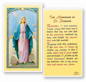 Our Lady of Grace Memorare of St. Bernard Laminated Holy Card