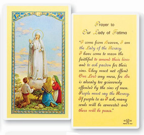 Our Lady of Fatima Prayer Laminated Holy Card