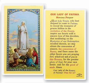 Our Lady of Fatima Novena Laminated Holy Card