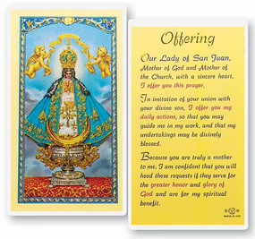 Our Lady of San Juan Offering Laminated Holy Card