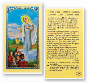 Our Lady of Medjugorje Prayer Laminated Holy Card