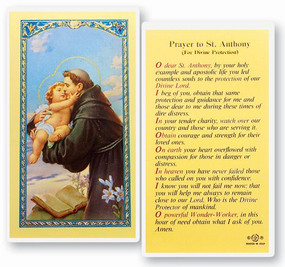 St. Anthony Prayer for Divine Protection Laminated Holy Card