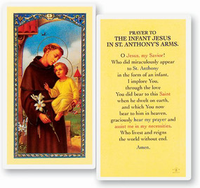 Prayer to the Infant Jesus in St. Anthony's Arms Laminated Holy Card