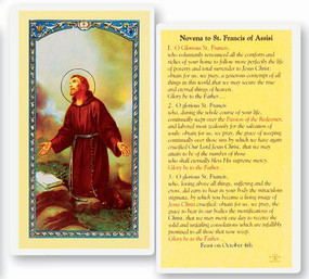 St. Francis of Assisi Novena Prayer Laminated Holy Card