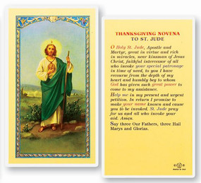 St. Jude Thanksgiving Novena Laminated Holy Card