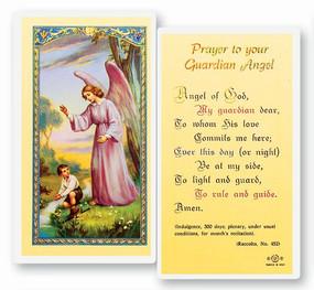 Guardian Angel Boy Prayer Laminated Holy Card