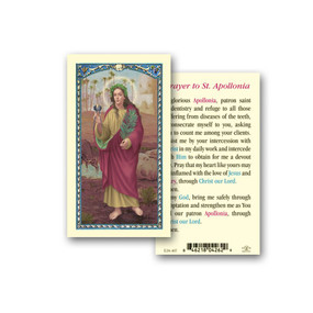 St. Apollonia Prayer Laminated Holy Card
