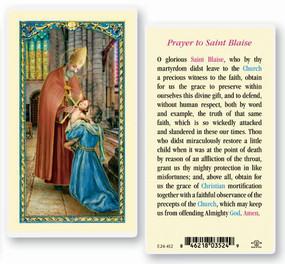 St. Blaise Prayer Laminated Holy Card