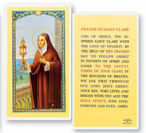 St. Clare Prayer Laminated Holy Card