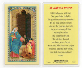 St. Isabella Prayer Laminated Holy Card