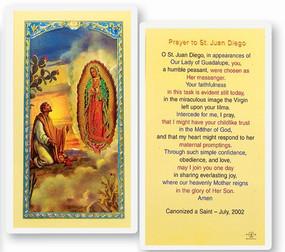 St. Juan Diego Prayer Laminated Holy Card