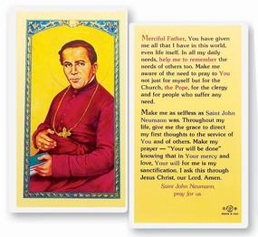 St. John Neumann Prayer Laminated Holy Card