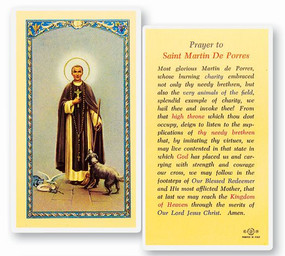 St. Martin de Porres Prayer Laminated Holy Card