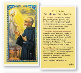 St. Maximilian Kolbe Prayer Laminated Holy Card