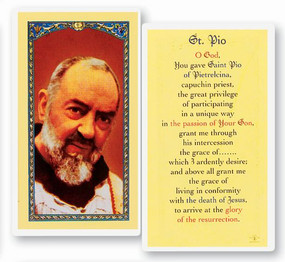 St. Padre Pio of Pietrelcina Laminated Holy Card