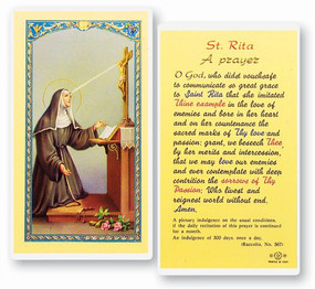 St. Rita Prayer Laminated Holy Card