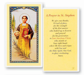 St. Stephen Laminated Holy Card