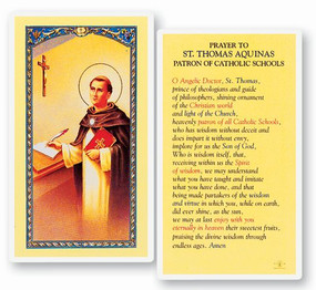 St. Thomas Aquinas Prayer Laminated Holy Card
