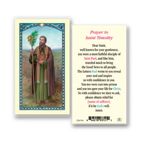 St. Timothy Prayer Laminated Holy Card