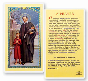 St. Vincent de Paul Prayer Laminated Holy Card