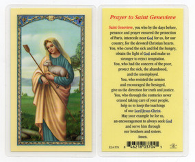 St. Genevieve Prayer Laminated Holy Card