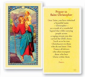 St. Christopher Prayer Laminated Holy Card