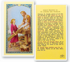 St. Joseph Patron of Workers Daily Prayer Laminated Holy Card