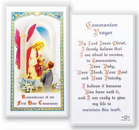 Communion Boy Popular Prayer Laminated Holy Card