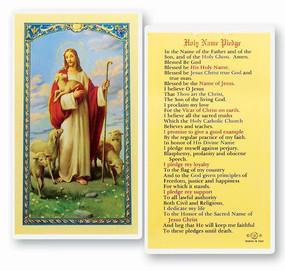 Holy Name Pledge Laminated Holy Card
