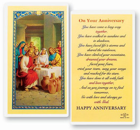 On Your Anniversary Laminated Holy Card