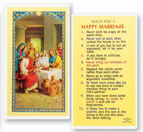 Rules for a Happy Marriage Laminated Holy Card