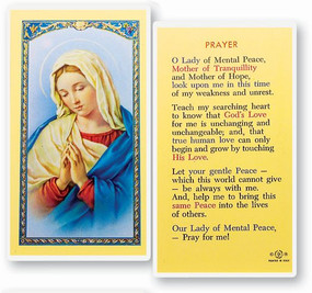 Our Lady of Mental Peace Prayer Laminated Holy Card