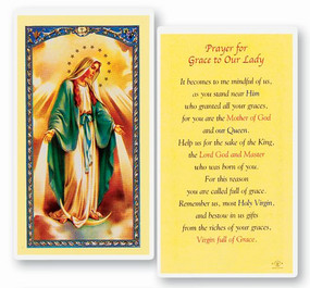 Our Lady of Grace Prayer Laminated Holy Card