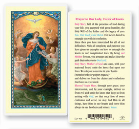 Our Lady, Untier of Knots Laminated Holy Card